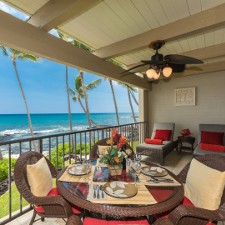 Ocean View Lanai with wicker dining room set